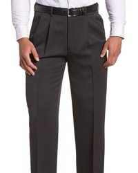 Perry Ellis Classic Fit Solid Double Pleated Non Iron Washable Dress Pants - Gray