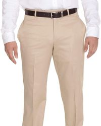 Bloomingdale's Classic Fit Solid Tan Flat Front Cotton Dress Pants - Brown