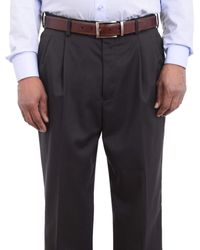 Perry Ellis Travel Luxe Regular Fit Solid Charcoal Pleated Washable Dress Pants - Gray