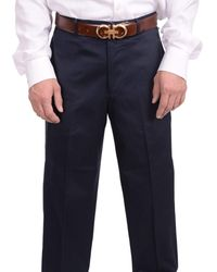 Bloomingdale's Bloomindales Classic Fit Solid Navy Flat Front Cotton Dress Pants - Blue