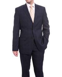 Ralph Lauren Slim Fit Navy Plaid Windowpane Two Button Stretch Wool Suit - Blue