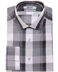 DKNY Classic Fit Charcoal Plaid Spread Collar Cotton Dress Shirt - Gray