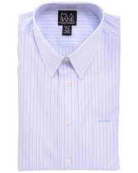 Jos. A. Bank 100% Cotton Striped Slim Fit Dress Shirt - Blue