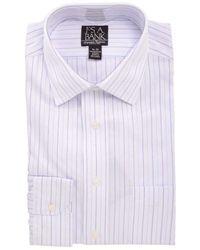Jos. A. Bank Blue Striped Wrinkle Free 100% Cotton Dress Shirt - White