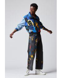 BETHANY WILLIAMS Aoc Print Recycled Black Denim Jeans - Blue