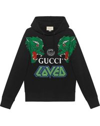 Gucci Oversized Printed Loopback Cotton-jersey Hoodie - Black