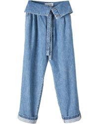 Loewe Foldover Belted Oversized Jeans - Blue