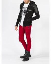 Balmain - Leather Patch Hoodie - Lyst