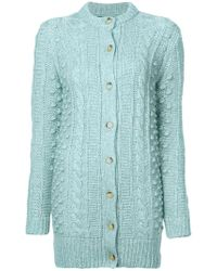 ALEXACHUNG Cable Knit Cardigan - Blue
