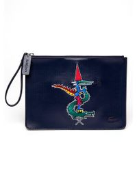 Lacoste - Embossed Leather Pouch - Lyst