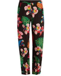 Valentino - Tropical Dream-print Silk Crepe De Chine Trousers - Lyst
