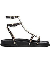Valentino - Rockstud Leather T-strap Sandal - Lyst