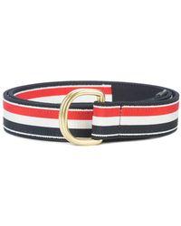 Thom Browne Signature Stripe Belt - Red