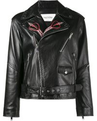 Valentino Love Blade Embroidered Leather Jacket - Black