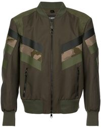 Neil Barrett Paneled Camouflage Bomber Jacket - Green
