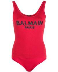 Balmain - Logo Intarsia Bodysuit - Lyst