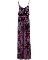 Saloni - Loretta Floral Print Devoré Velvet Jumpsuit - Lyst