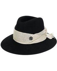 Maison Michel Henrietta Frayed Band Hat - Black