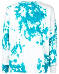 The Elder Statesman Marble Dyed Fleece Sweatshirt - Blue