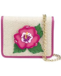 Yazbukey - Embroidered Flower Patch Flap Closure Clutch Bag - Lyst