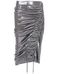 Atlein Silk Wave Skirt - Metallic