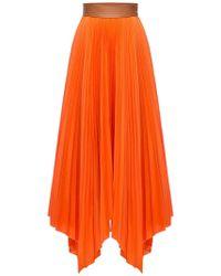 Loewe Asymmetric Pleated Skirt - Orange