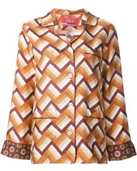 For Restless Sleepers - Chevron Pajama-style Shirt - Lyst