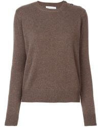 Alexandra Golovanoff Buttoned Shoulder Knitted Sweater - Brown
