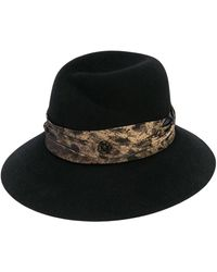 Maison Michel Rose Fedora Hat - Black