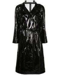 ALEXACHUNG Wet-look Trench Coat Black