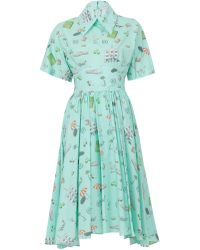 Olympia Le-Tan Mint Kawabata Dress Green