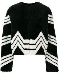 Givenchy Chevron Stripe Faux Fur Jacket - Black