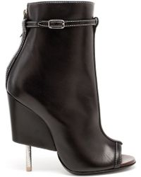 Givenchy Peep-toe Ankle Boots - Black