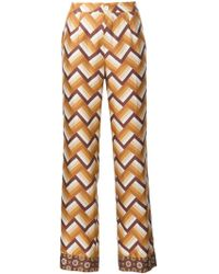 For Restless Sleepers - Chevron Print Straight Trousers - Lyst