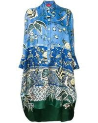 F.R.S For Restless Sleepers Noto Printed Silk Tunic - Blue
