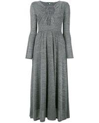 ALEXACHUNG Key-hole Flared Dress - Gray