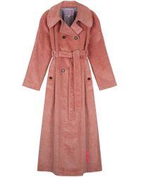 ALEXACHUNG Corduroy Trench Coat - Pink