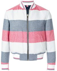 Thom Browne - Reversible Rugby Stripe Melton Wool Bomber - Lyst