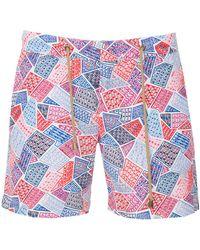 Thorsun - Geometric Print Swim Trunks - Lyst