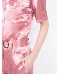 Sies Marjan Washed Satin Button-down Jumpsuit - Pink