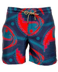 Thorsun Mata Print Titan Swim Shorts - Blue