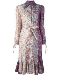Olympia Le-Tan - Floral Print Belted Shirt Dress - Lyst