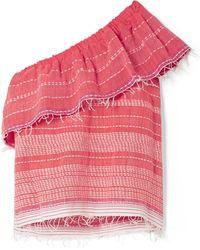 lemlem - Saba One-shoulder Embroidered Cotton-gauze Top - Lyst