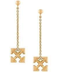 Off-White c/o Virgil Abloh - Arrow Cross Pendant Earrings Gold - Lyst
