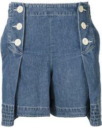 Sacai - Pleated Denim Shorts - Lyst