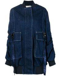 Fendi Oversized Denim Bomber Jacket - Blue