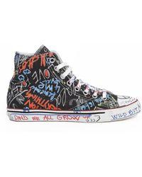 Vetements - All Over Graffiti Print High Top Sneakers - Lyst
