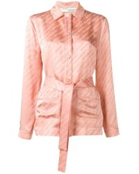 Off-White c/o Virgil Abloh Pink Satin Logo Belt Shirt By