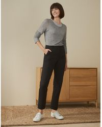 The White Company Italian Stretch Textured Slim Trousers - Black