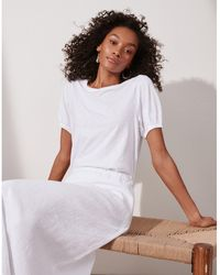 The White Company Jersey Puff Sleeve Top - White